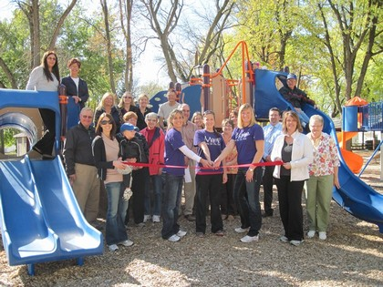 Ribbon cutting a park